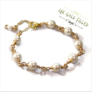 🖤firm🖤 Pearl Link Bracelet - 14k Gold